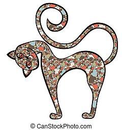 mosaico, divertido, curioso, gato