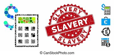 mosaico, escravidão, ícone, selo, textured, contabilidade