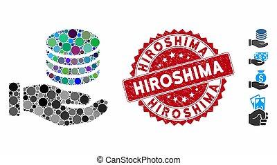 mosaico, estampilla, mano, hiroshima, rasguñado, donación,...