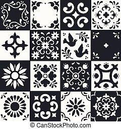 mosaico, estilo, flor, méxico, arte, talavera, folhas, cerâmico, pattern., azulejos, tradicional, puebla., pretas, white., ornamentos, floral, mexicano, pássaro, povo, design.