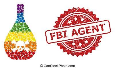 mosaico, fbi, textured, agente, estampilla, veneno, jarra, ...