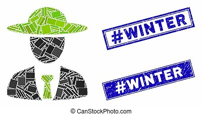 mosaico, grunge, rectángulo, sellos, agronomist, #winter, jefe