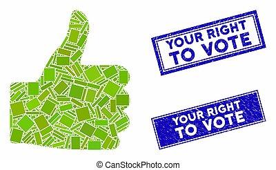 mosaico, grunge, retângulo, cima, selos, voto, direita, seu, polegar