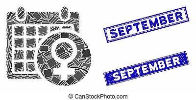 mosaico, grunge, retângulo, setembro, femininas, watermarks, calendário