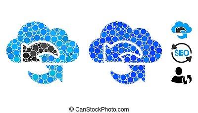 mosaico, icona, aggiornamento, cerchio, punti