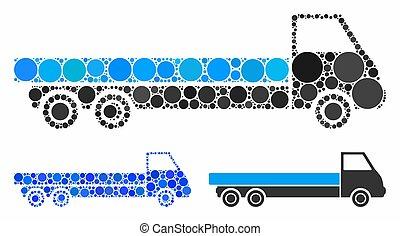 mosaico, icona, cerchio, camion, punti