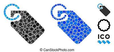 mosaico, icona, cerchio, etichetta, punti