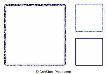 mosaico, icona, quadrato, cornice, cerchi, arrotondato, doppio