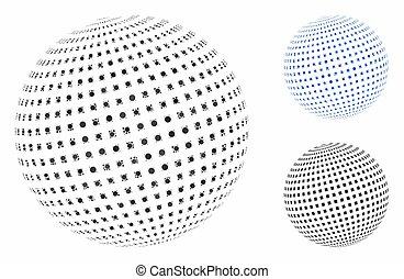 mosaico, icona, sfera, quadrato, punteggiato, cerchi, astratto