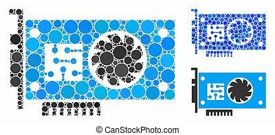 mosaico, icono, círculo, gpu, tarjeta, acelerador, puntos