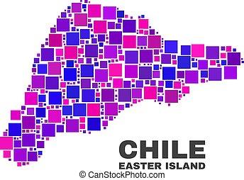 mosaico, isla de pascua, mapa, de, cuadrado, artículos