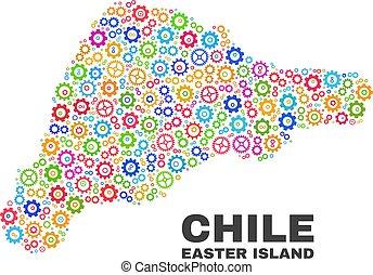 mosaico, isla de pascua, mapa, de, rueda dentada, elementos