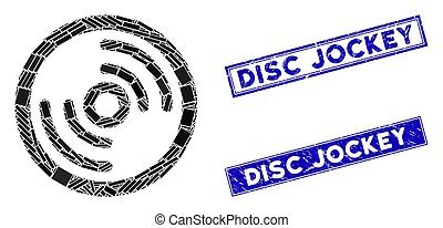 mosaico, jinete, rectángulo, rasguñado, sellos, disco