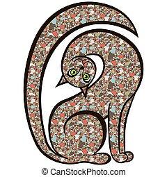 mosaico, juguetón, curioso, gato
