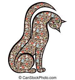 mosaico, juguetón, gato