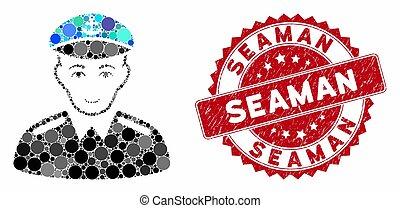 mosaico, marinheiro, selo, textured, capitão