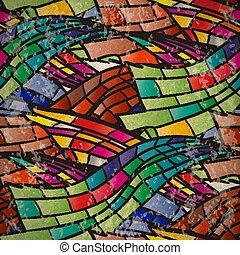 mosaico, modello, seamless, colorito, onde