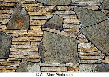 mosaico, pared de piedra