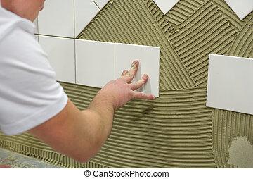 mosaico pared, pegamento