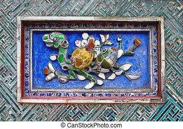 mosaico, parete, colore, cittadella, vietnam