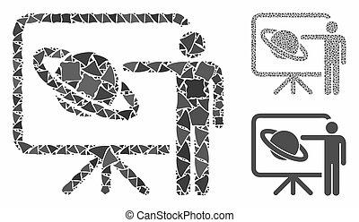 mosaico, partes, raggy, ícone, conferência