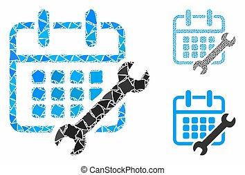 mosaico, raggy, partes, calendário, configurar, ícone