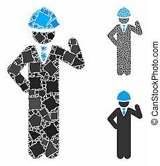 mosaico, raggy, partes, engenheiro, ícone