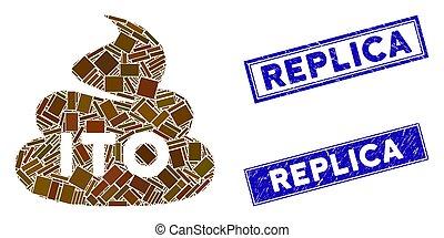 mosaico, rectángulo, réplica, mierda, filigranas, ito,...