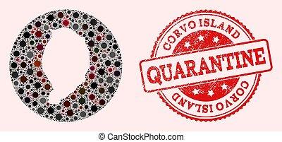 mosaico, redondo, plantilla, mapa, coronavirus, precinto de goma, corvo, isla