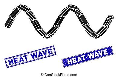 mosaico, retângulo, arranhado, sinal, selos, onda calor