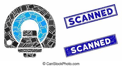 mosaico, retângulo, selos, equipamento, varrido, mri, angústia