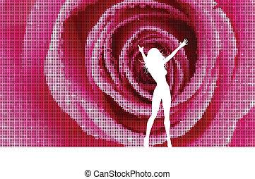 mosaico, rosa, fondo, femmina, sexy