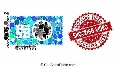 mosaico, sello, angustia, vídeo, acelerador, horrible, tarjeta, gpu