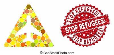 mosaico, sello, parada, avión, problema, refugees!, angustia