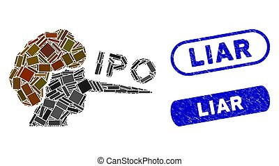 mosaico, sellos, mentiroso, grunge, rectángulo, ipo
