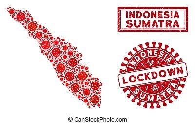 mosaico, sellos, sumatra, lockdown, isla, rasguñado, mapa