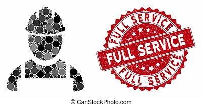 mosaico, selo, angústia, trabalhador, serviço cheio