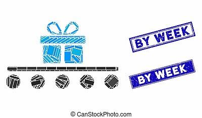 mosaico, selos, retângulo, bagagem, grunge, transporte