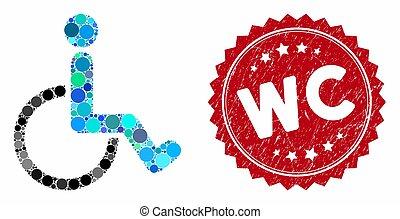 mosaico, sigillo, persona, graffiato, wc, invalido
