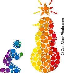 mosaico, snowman, espectro, rogar, icono, santo, puntos, ...