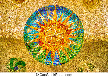 mosaico, sole, parc guell, barcellona