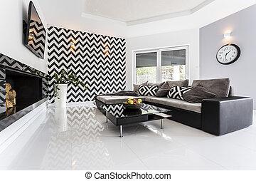 mosaico, tema, su, parete, in, soggiorno