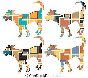mosaicos, jovem, cão