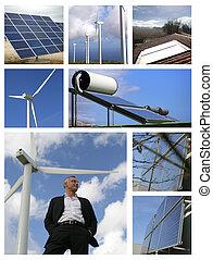 mosaik, av, alternativ energi, upphov