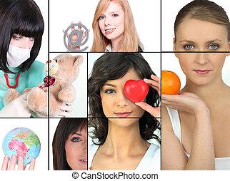mosaik, av, kvinnor, holdingen, olika, objekt