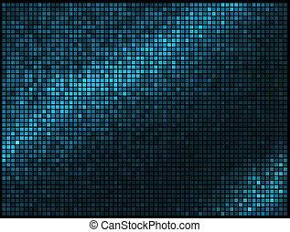 mosaik, bildpunkt, fyrkant, blå, abstrakt, lyse, disko, flerfärgad, vektor, bakgrund.