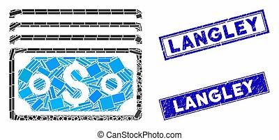 mosaik, briefmarke, rechteck, dollar, dichtungen, langley,...