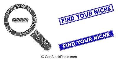 mosaik, grunge, rechteck, zoom, finden, briefmarken, heraus, nische, dein