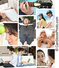 mosaik, i, forskellige, daglige, aktiviteter