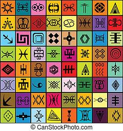 mosaik, mit, verschieden, traditionelle , elemente